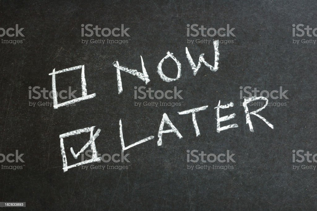 Now and Later Checkbox Written on Blackboard stock photo