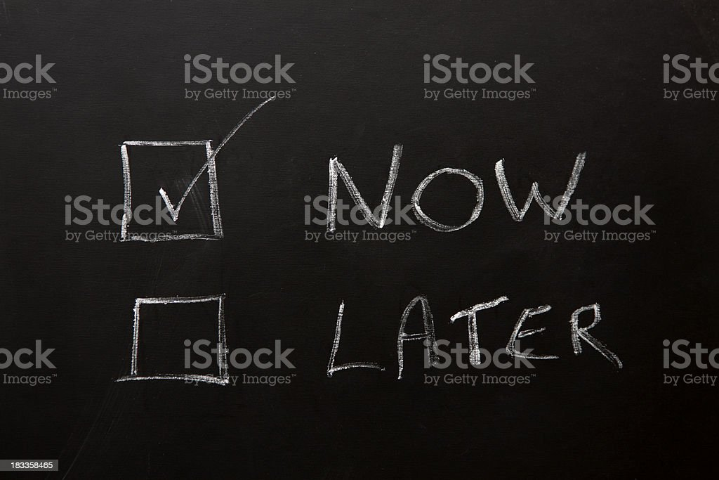 Now and Later Checkboxes on a blackboard. royalty-free stock photo
