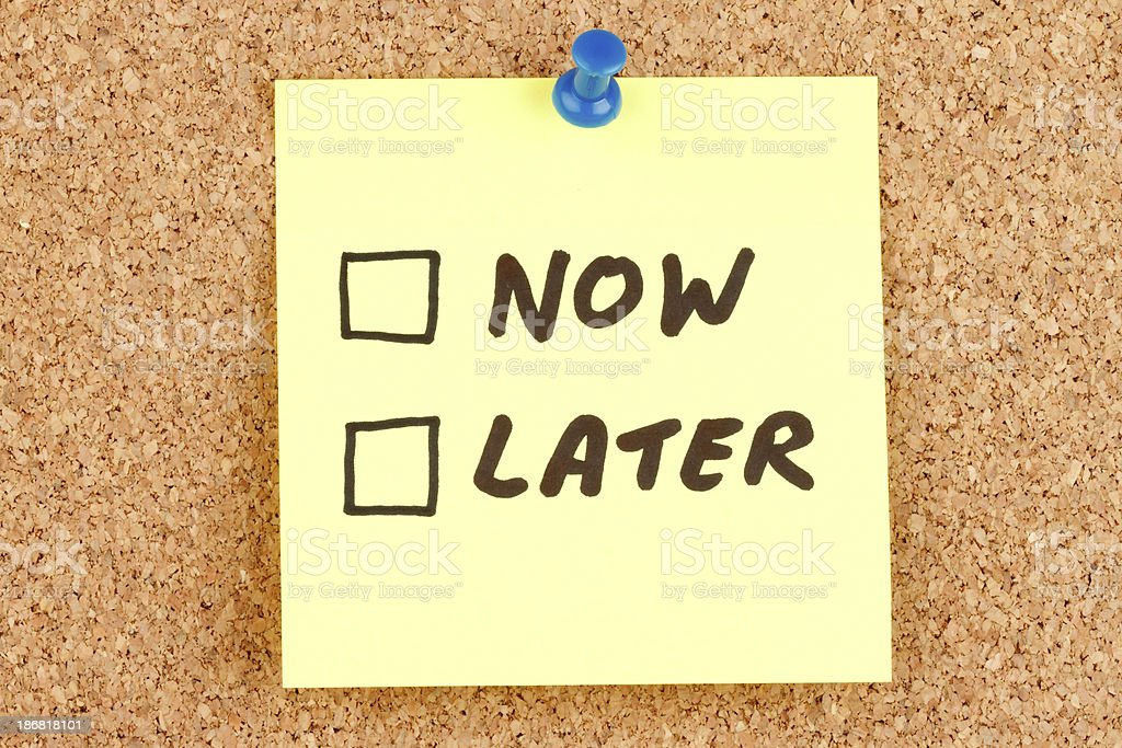 Now and Later  Checkboxes on an Adhesive Note royalty-free stock photo