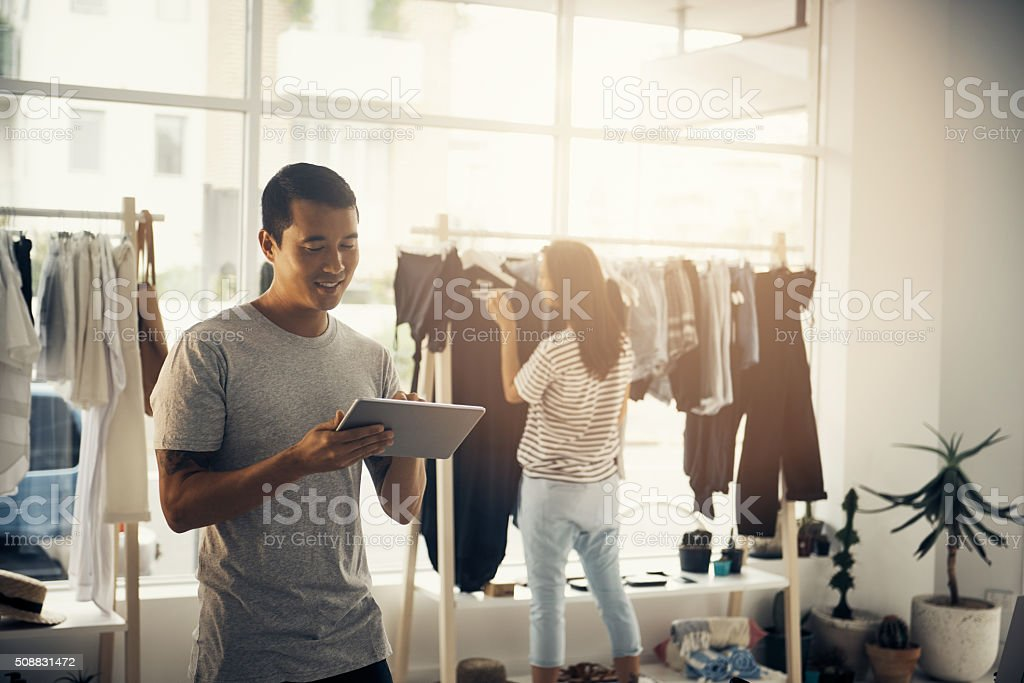 Now I can mange my business online stock photo