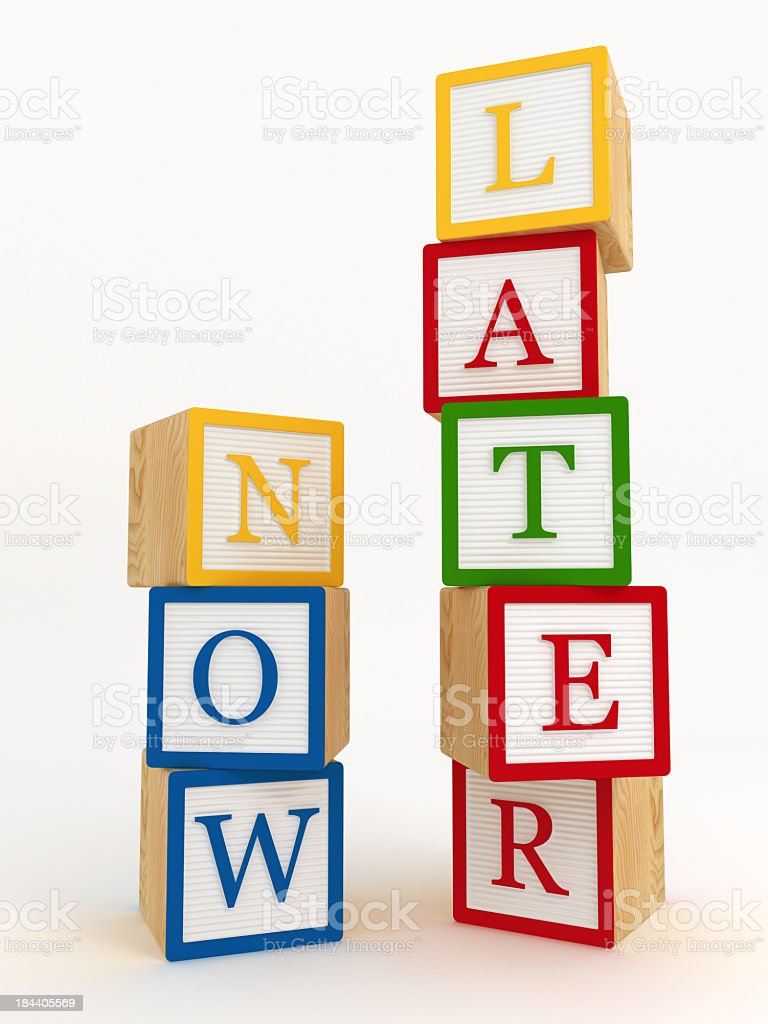 now later concept Building block royalty-free stock photo