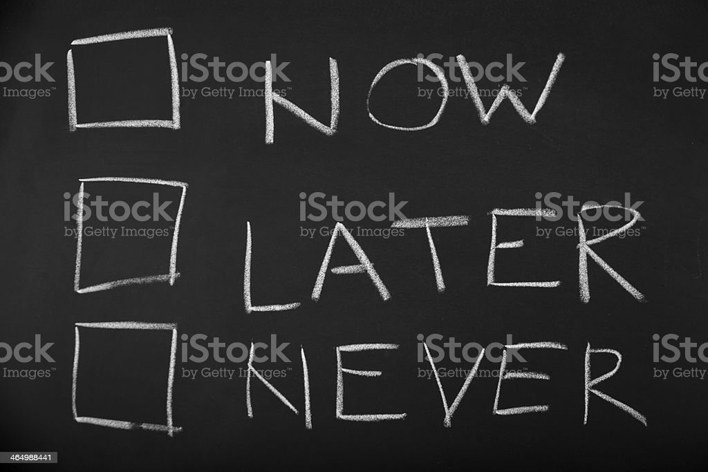 Now Later Never royalty-free stock photo