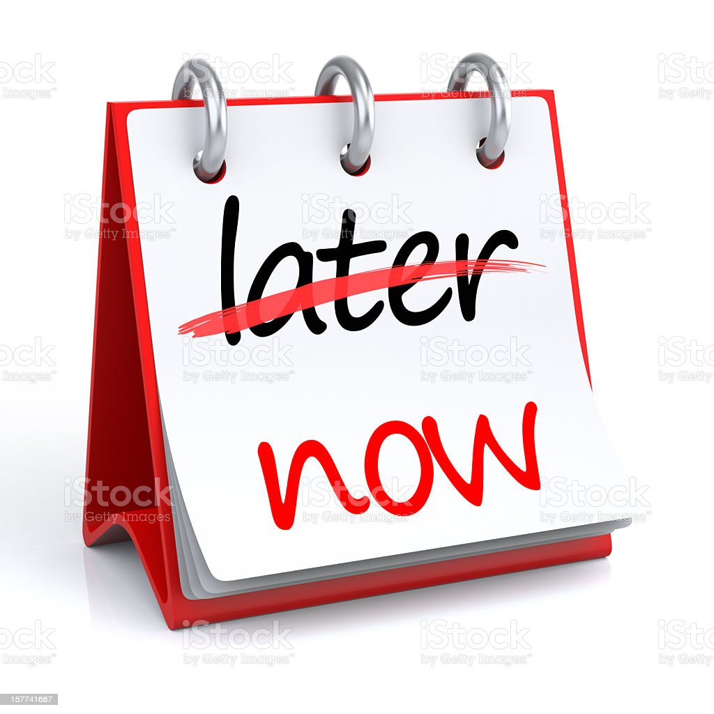 Now - Later stock photo