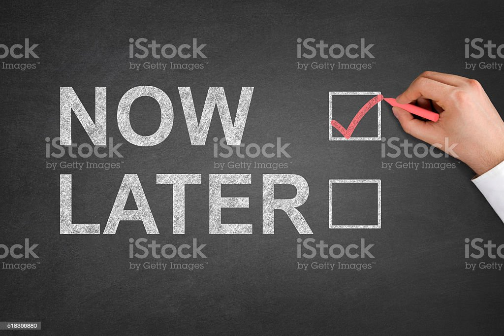 Now or Later Check Boxes stock photo