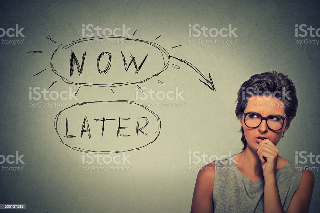 Now or later stock photo