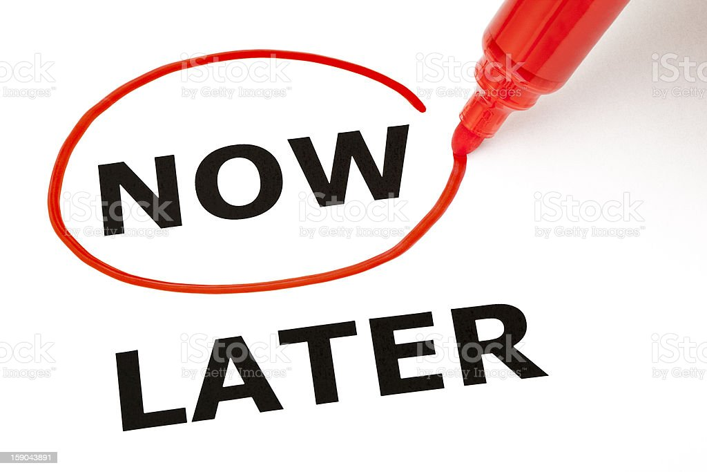 Now or Later with Red Marker royalty-free stock photo