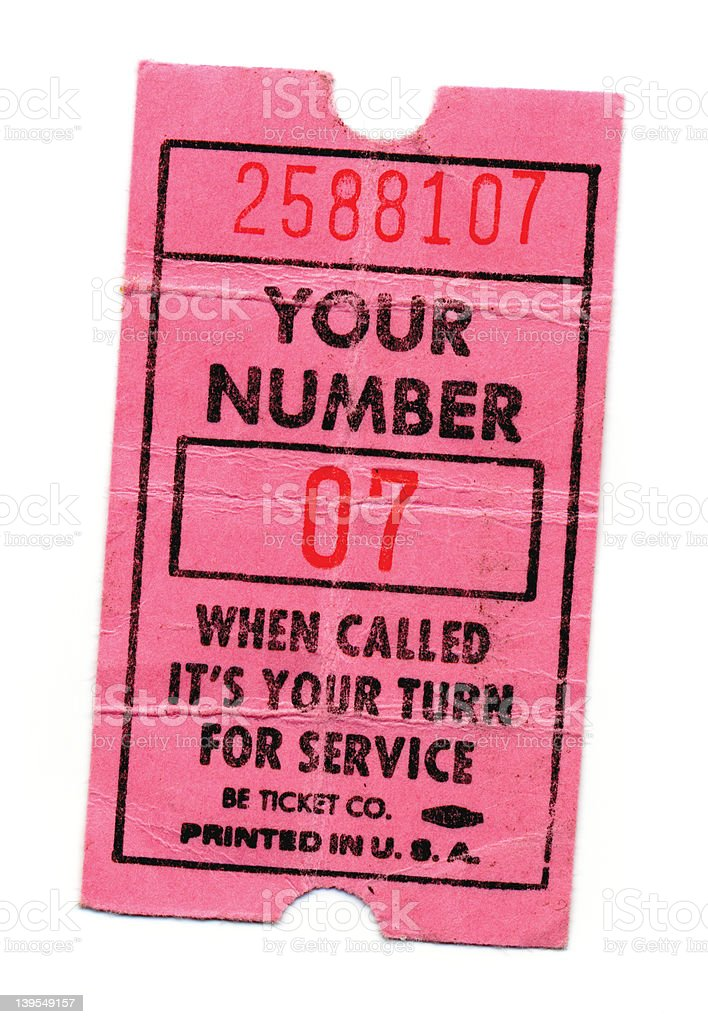 now serving ticket front royalty-free stock photo