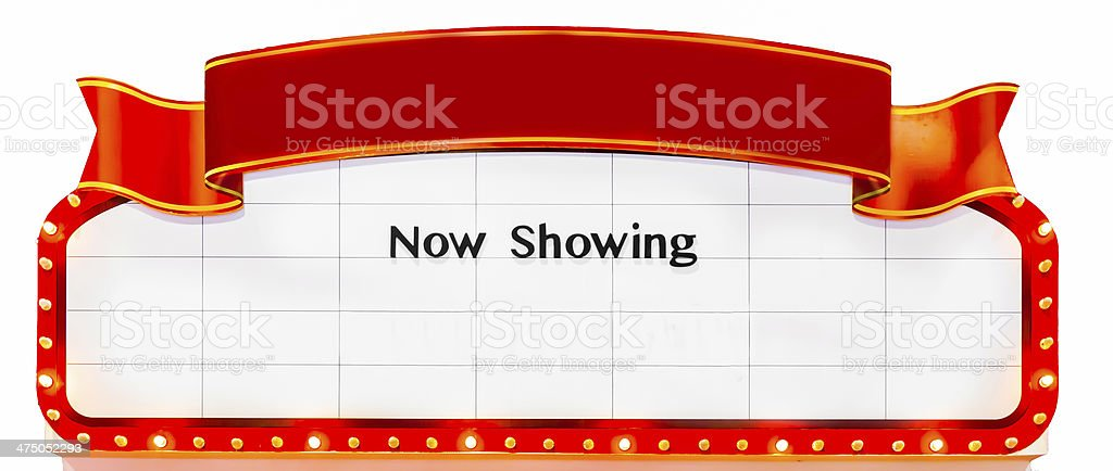Now Showing Sign stock photo
