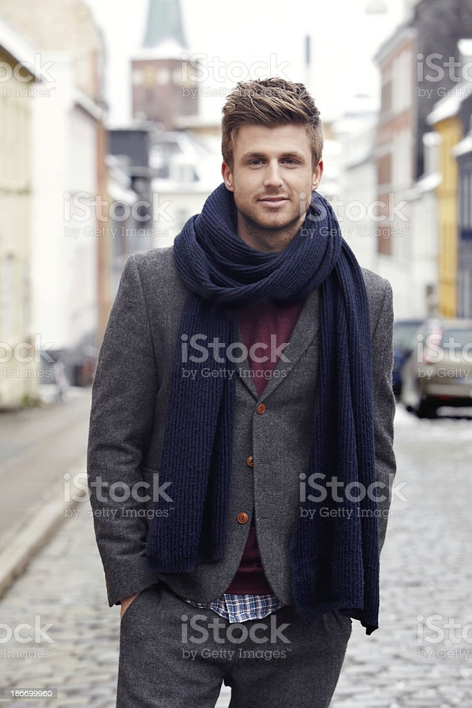 Now that is some stylish Winter attire... stock photo