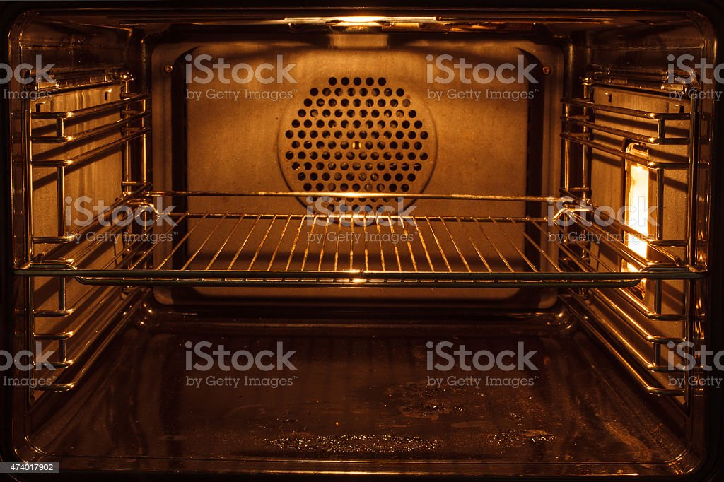 nside a dirty oven stock photo