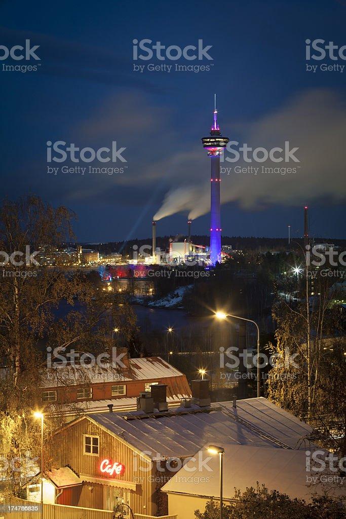 Näsinneula Tower Illuminated stock photo