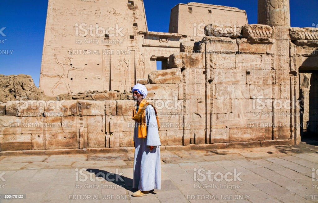 Nubian and Temple of Philae stock photo