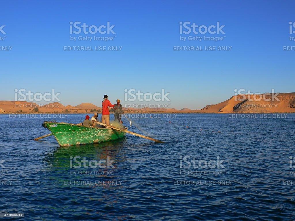 Nubian fisher on lake Nasser royalty-free stock photo