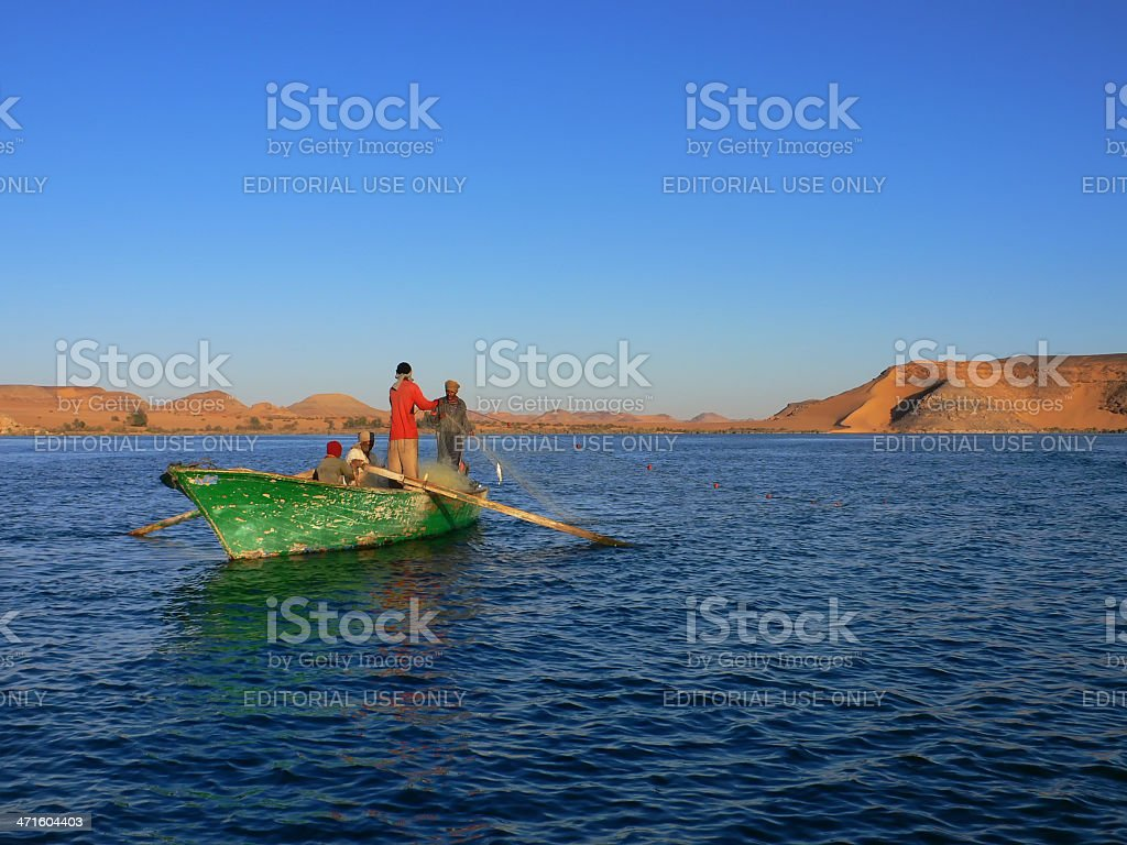 Nubian fisher on lake Nasser stock photo