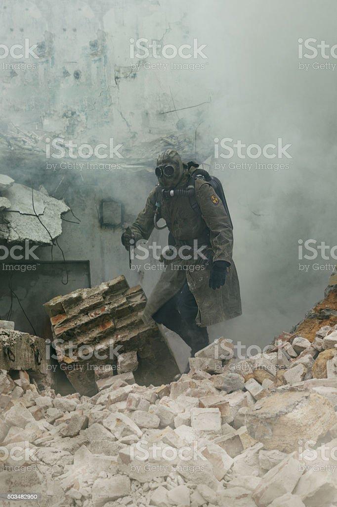 Nuclear apocalypse survivor stock photo