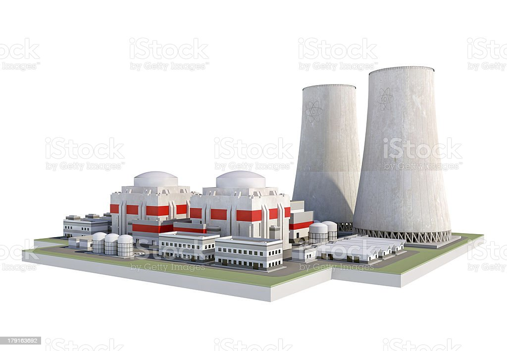 Nuclear atomic power plant, isolated on white background stock photo