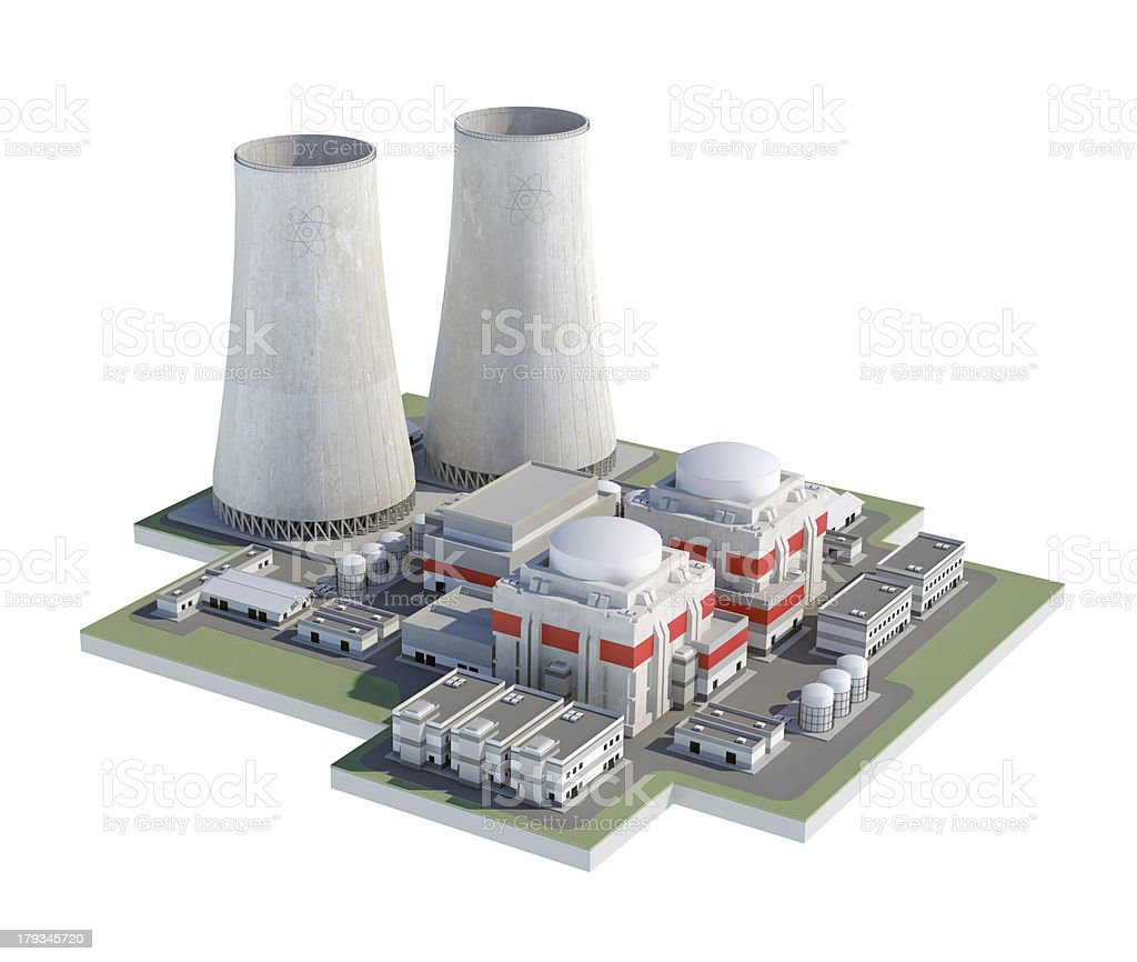 Nuclear atomic power plant, isolated on white background royalty-free stock photo
