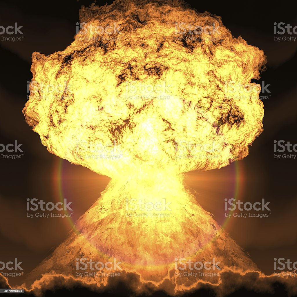nuclear bomb explosion stock photo