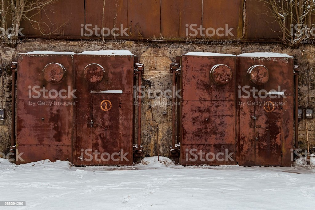 Nuclear bomb shelter stock photo