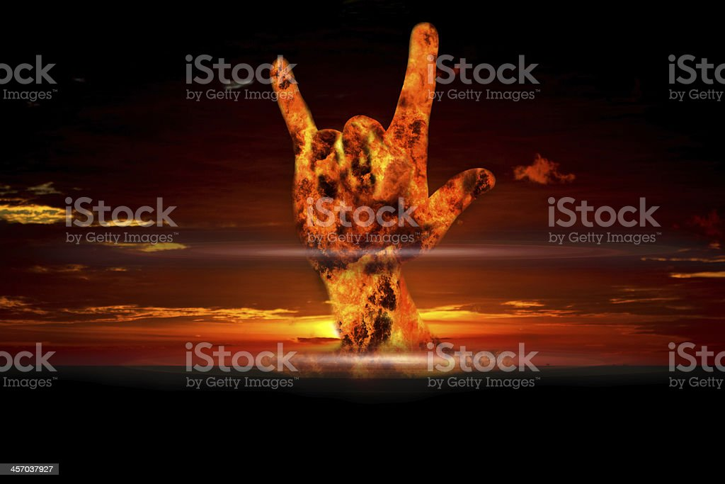 Nuclear booming with love on hand sign stock photo