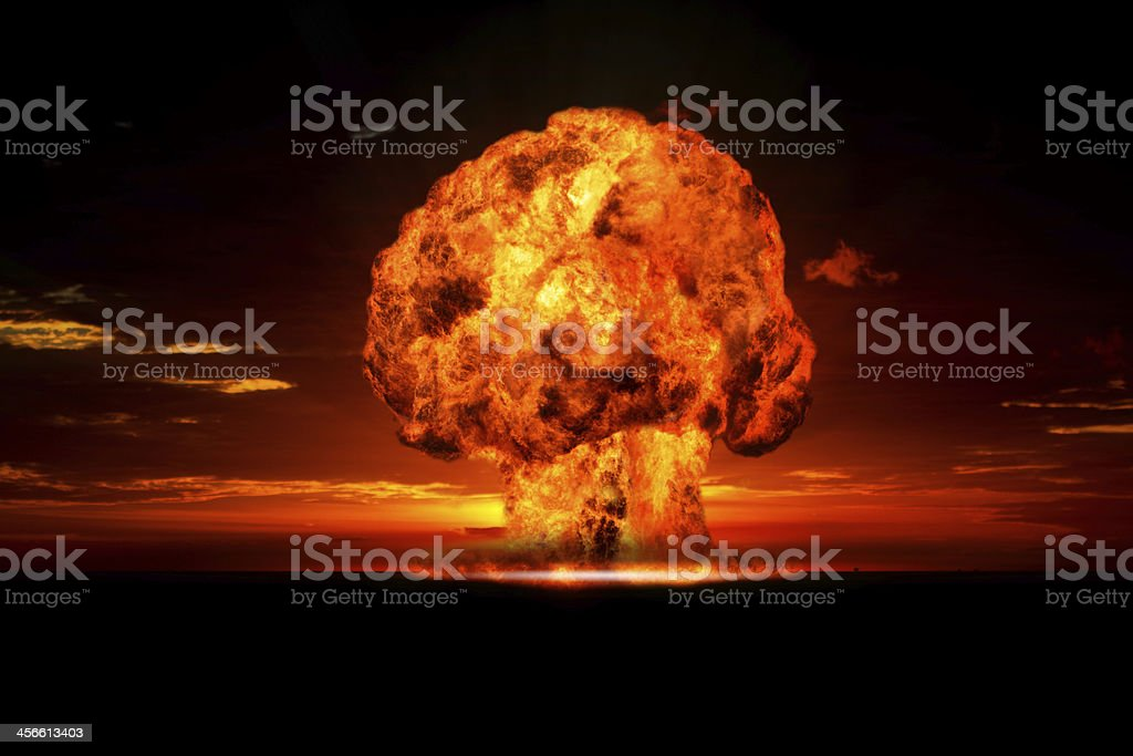 Nuclear explosion in an outdoor setting. stock photo