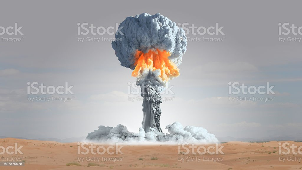 Nuclear explosion in the precincts of the desert. stock photo