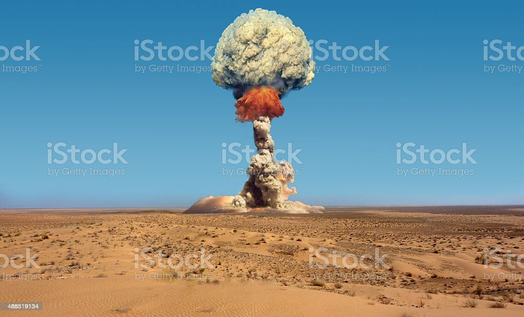 Nuclear explosion. stock photo