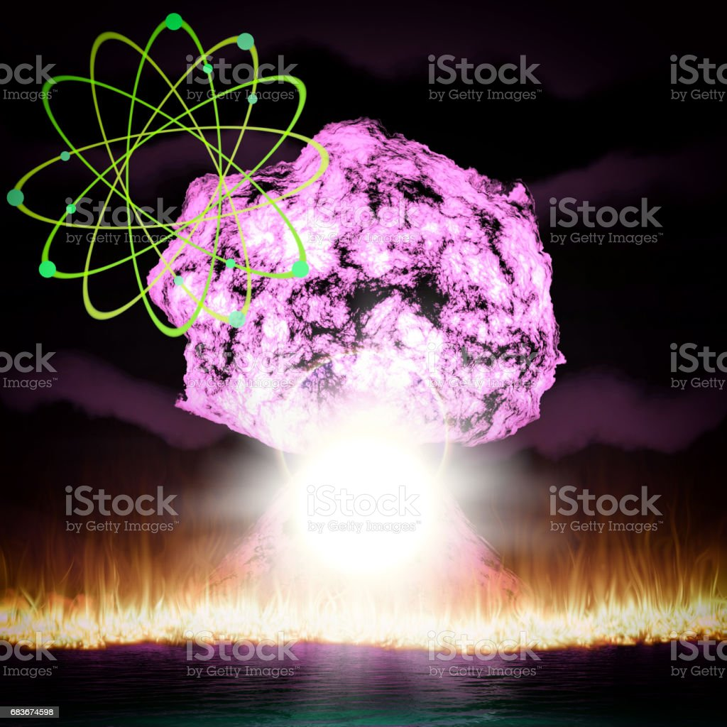 Nuclear explosion with symbol of atomic energy 3d rendering stock photo