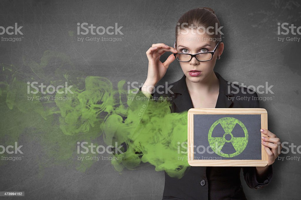 Nuclear hazard black board stock photo
