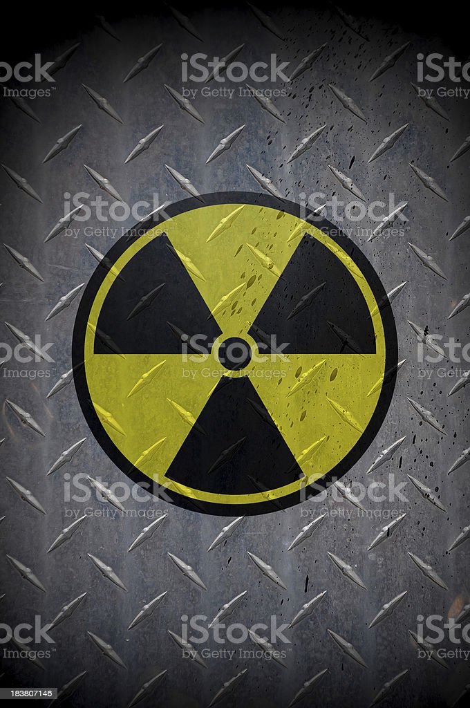 Nuclear Icon on Metal Background stock photo