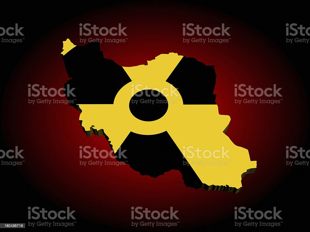 Nuclear Iran map stock photo