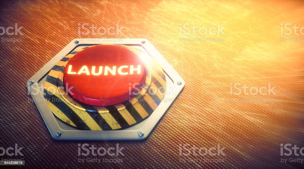 Nuclear Launch Button Concept stock photo