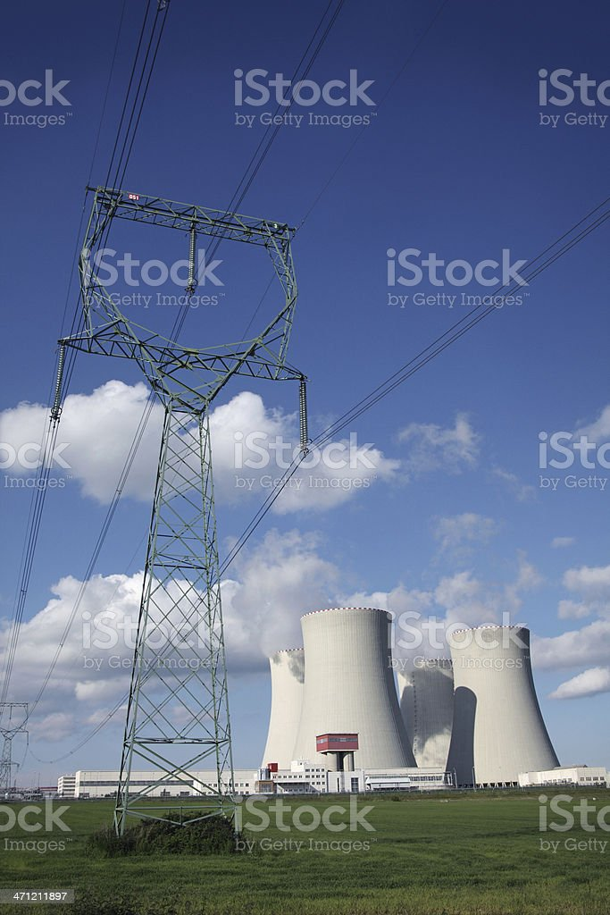 Nuclear Plant and Power Lines royalty-free stock photo
