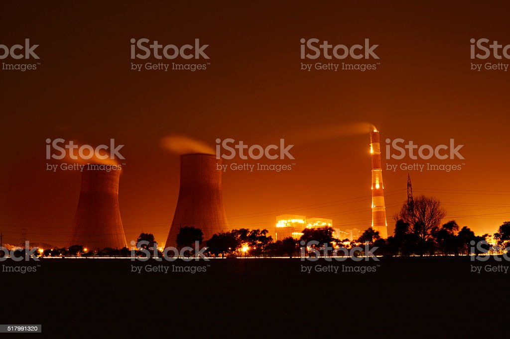 Nuclear Plant At Night stock photo