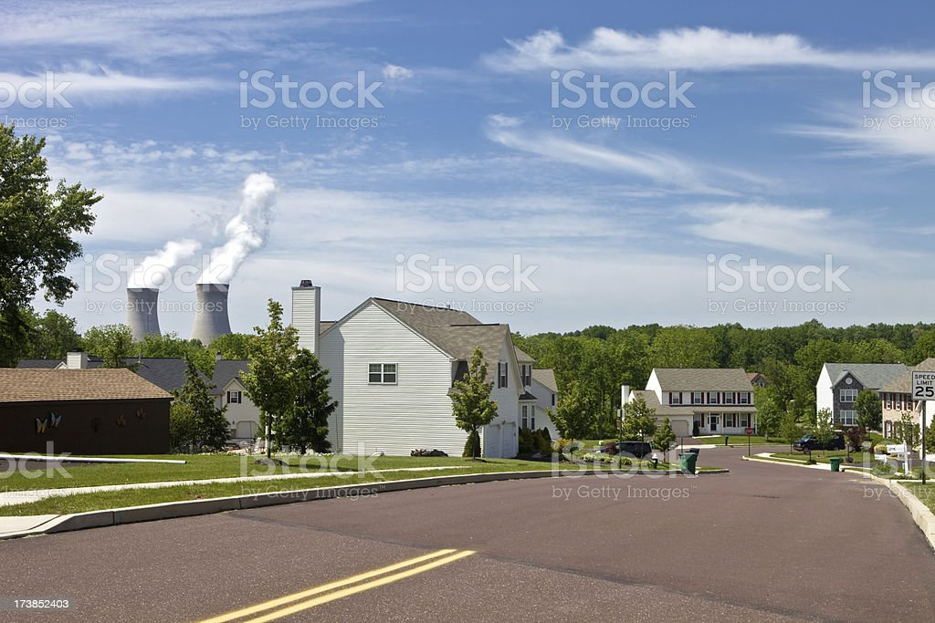 Nuclear Plant in Suburbs royalty-free stock photo