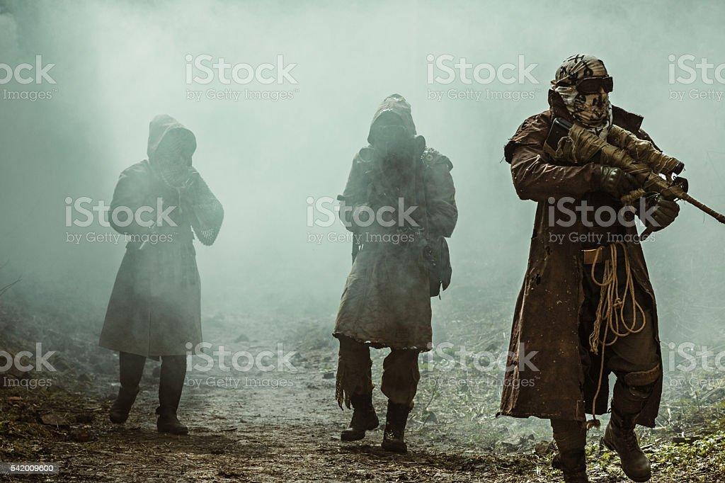 Nuclear post-apocalypse survivors stock photo