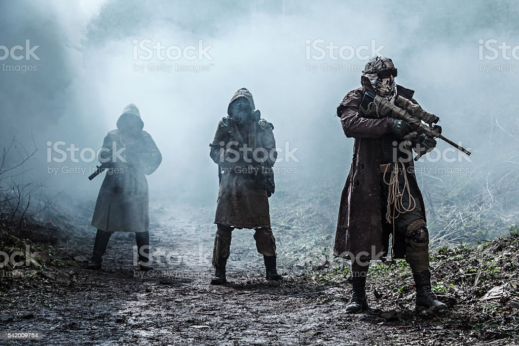 Nuclear post-apocalypse survivors stock photo
