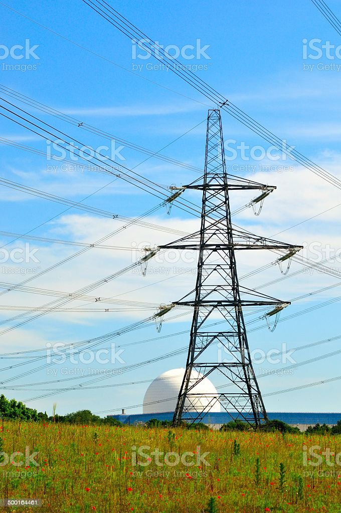 Nuclear power lines stock photo