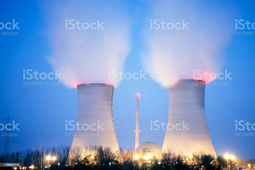 Nuclear power plant at dusk royalty-free stock photo