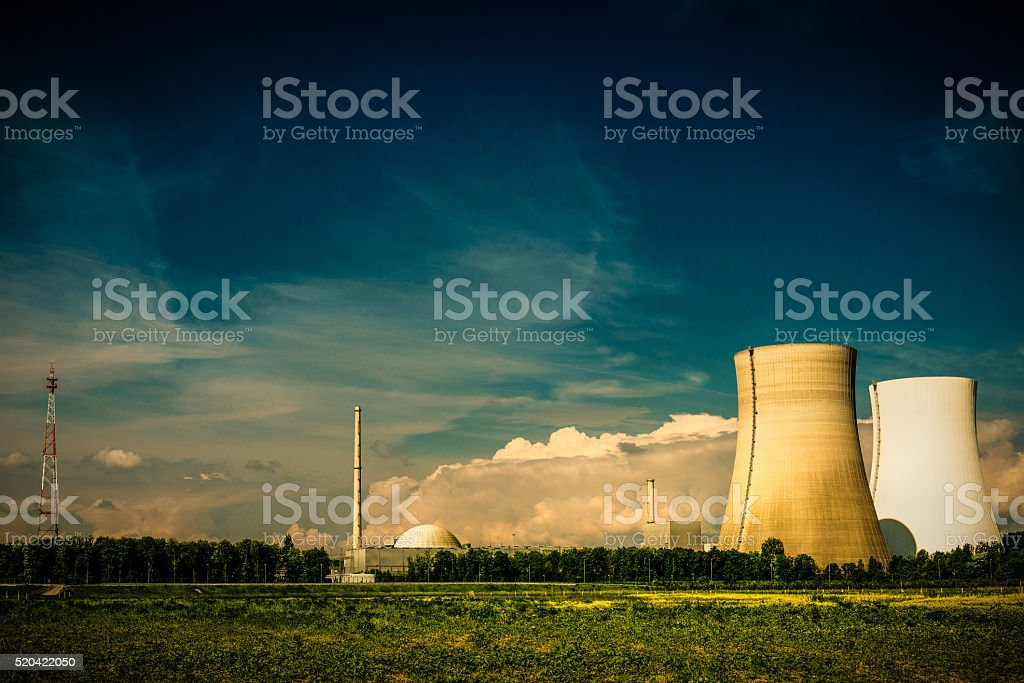 nuclear power plant at evening stock photo