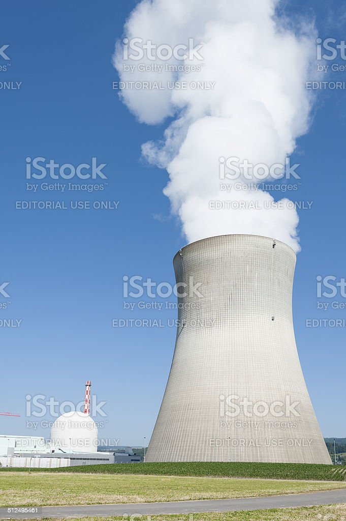 Nuclear power plant cooling tower at Leibstadt (KKL), Switzerland stock photo
