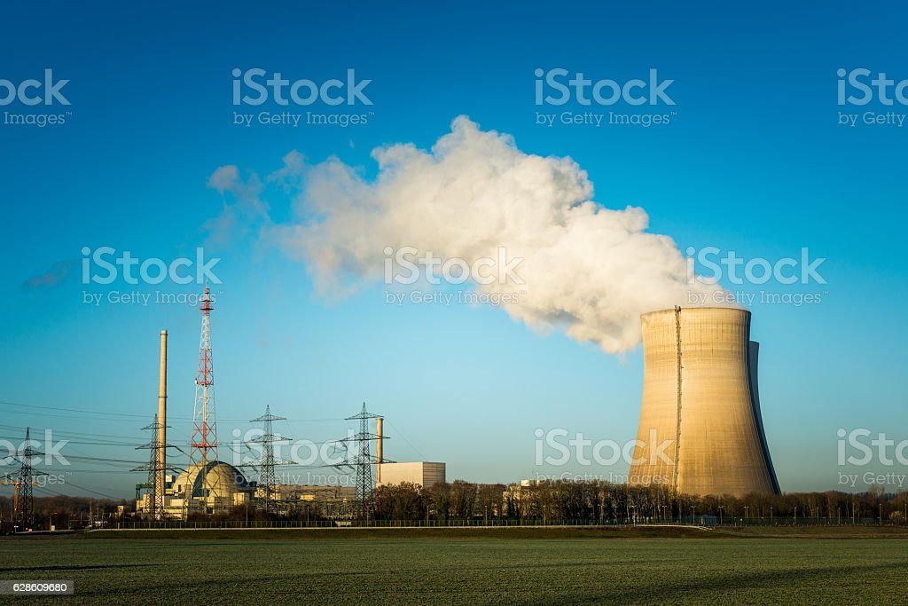 nuclear power plant cooling towers stock photo