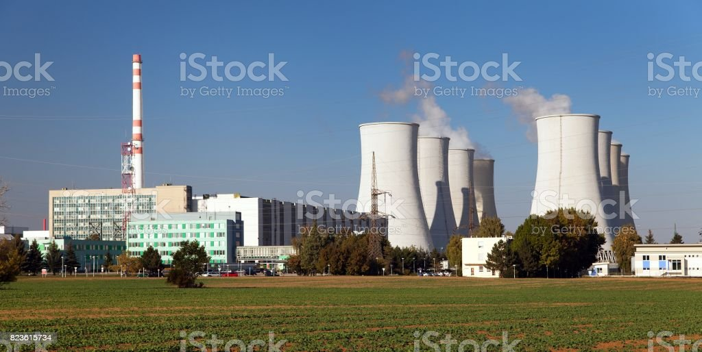 Nuclear power plant, cooling towers - Slovakia stock photo