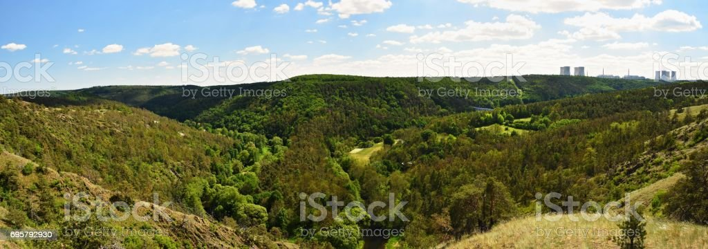 Nuclear power plant Dukovany. Czech Republic, Europe. Landscape with forests and valleys. stock photo