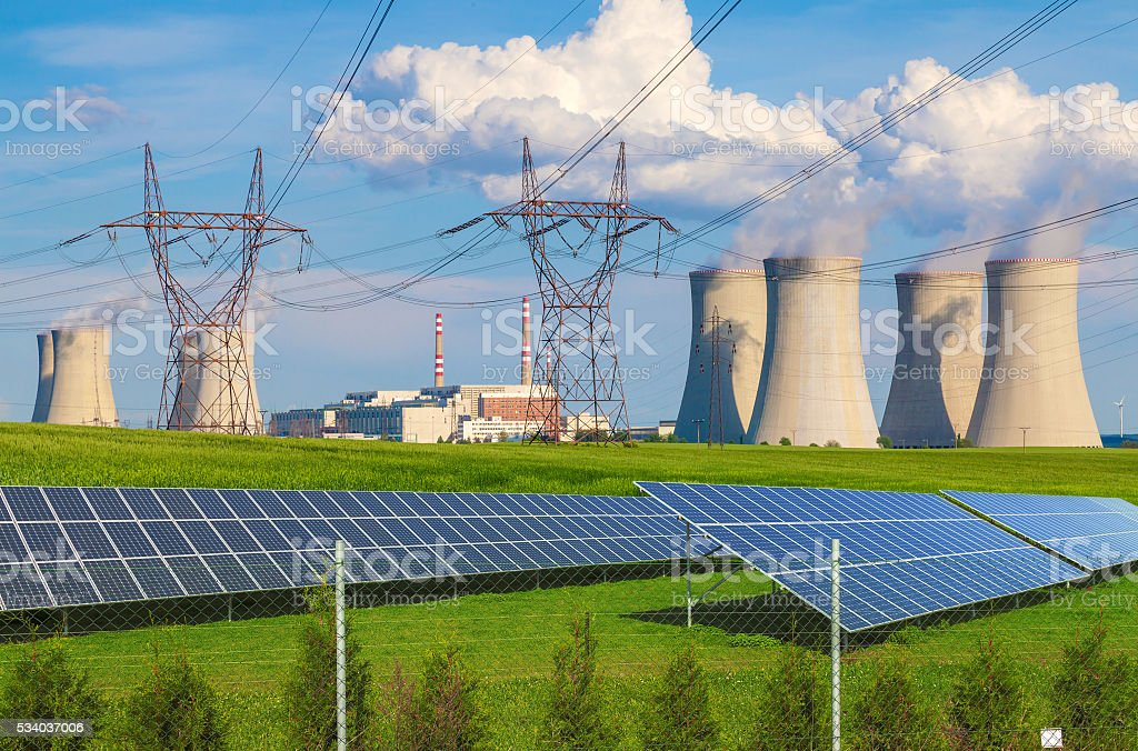 Nuclear power plant Dukovany with solar panels in Czech Republic stock photo