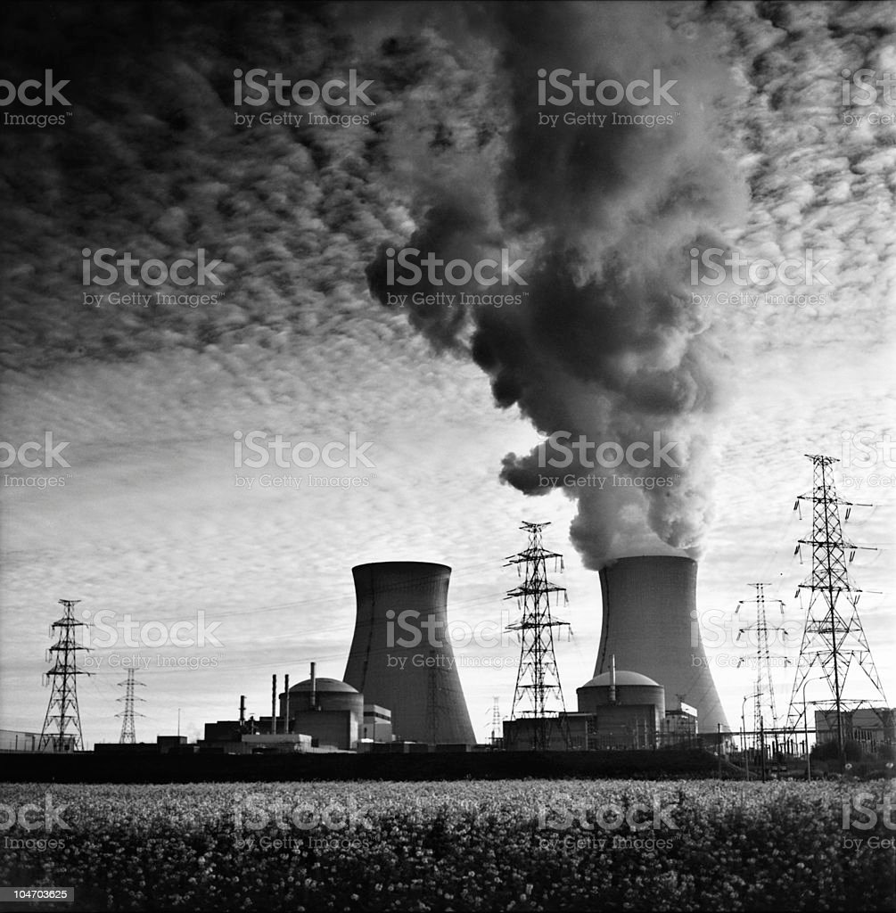nuclear power plant generating electricity and clouds royalty-free stock photo