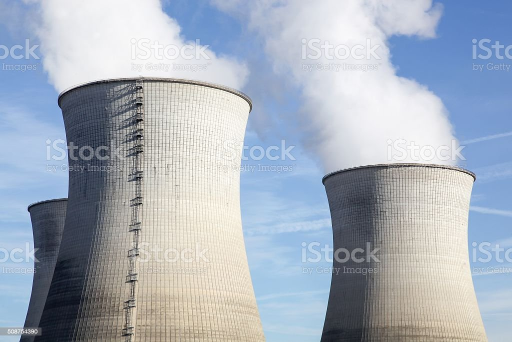 Nuclear power plant in France stock photo