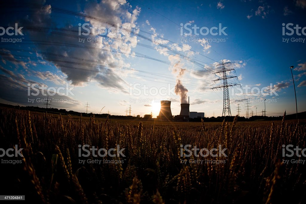 Nuclear Power Plant on Sunset stock photo