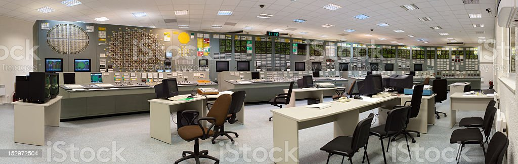 Nuclear power plant outdated control room royalty-free stock photo