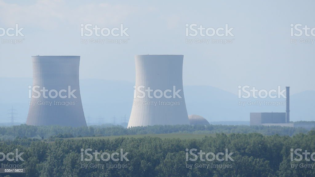 nuclear power plant view from the cathedral speyer stock photo